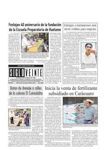 27 de Marzo de 2011 - Periódico Siglo Veinte. Huetamo, Michoacán.