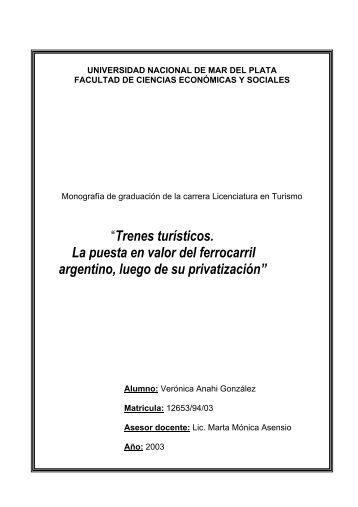 Trenes turísticos - Universidad Nacional de Mar del Plata