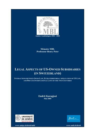 LEGAL ASPECTS OF US-OWNED SUBSIDIARIES (IN ...