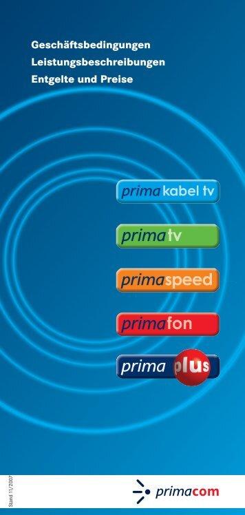 Geschäftsbedingungen Leistungsbeschreibungen ... - Primacom