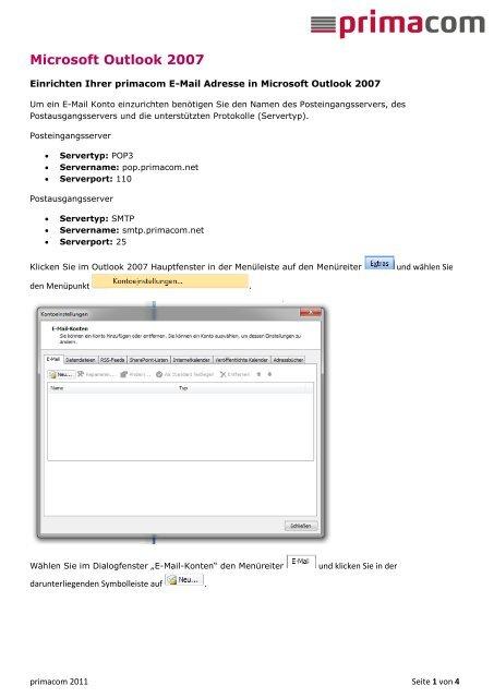 Kurzanleitung E-Mail (Microsoft Outlook 2007) - Primacom