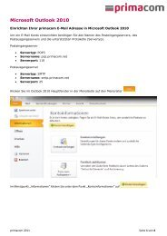 Kurzanleitung E-Mail (Microsoft Outlook 2010) - Primacom