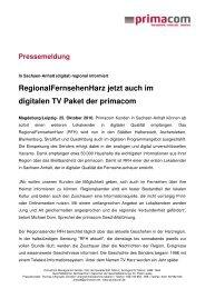 In Sachsen-Anhalt (digital) regional informiert - Primacom