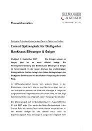 Erneut Spitzenplatz für Stuttgarter Bankhaus Ellwanger & Geiger