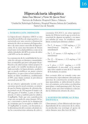 16. Hipercalciuria idiopática - Asociación Española de Pediatría