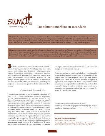 Los números mórficos en secundaria 59 - SUMA Revistas de ...