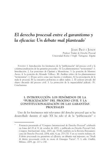 El derecho procesal entre el garantismo y la eficacia: Un ... - EGACAL