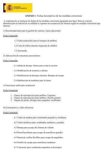 Anexo I, Fichas descriptivas de las medidas correctoras
