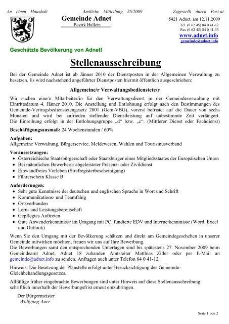 06/2019 Stellenausschreibung schulische - Gemeinde Adnet
