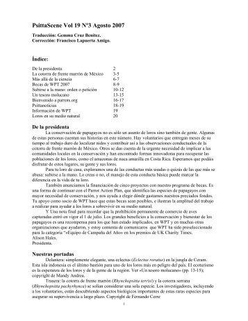 PsittaScene Vol 19 Nº3 Agosto 2007 - World Parrot Trust