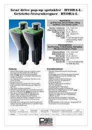 Gear drive pop-up sprinkler HYDRA-L Getriebe ... - Proehl-gmbh.de