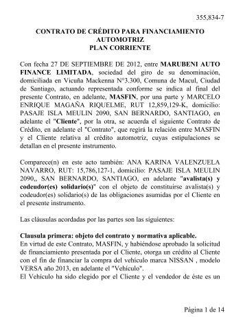CONTRATO DE CRÉDITO PARA ... - Intranet Masfin