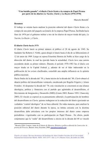 """""""Una batalla ganada"""": el diario Clarín frente a - IDAES - Instituto de ..."""