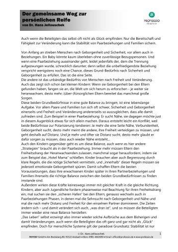 Der gemeinsame Weg zur persönlichen Reife - Professio GmbH