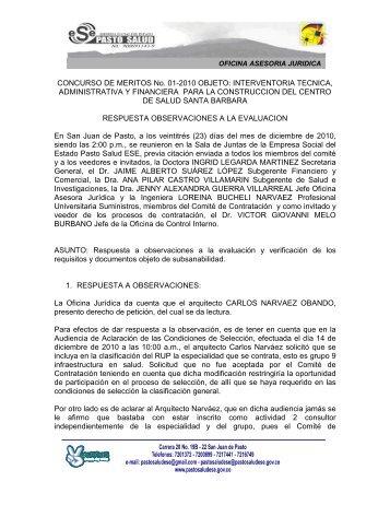 RESPUESTA OBSERVACIONES EVALUACION - Pasto Salud ESE