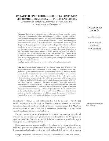 el HoMBre eS MedIda de TodaS laS - saga - Universidad Nacional ...