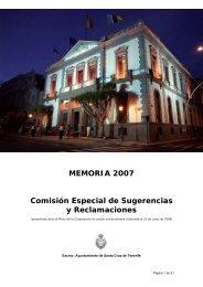 MEMORIA 2007 Comisión Especial de Sugerencias y Reclamaciones
