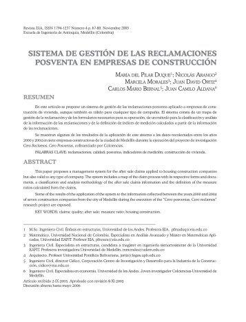 sistema de gestión de las reclamaciones posventa en - Revista EIA ...