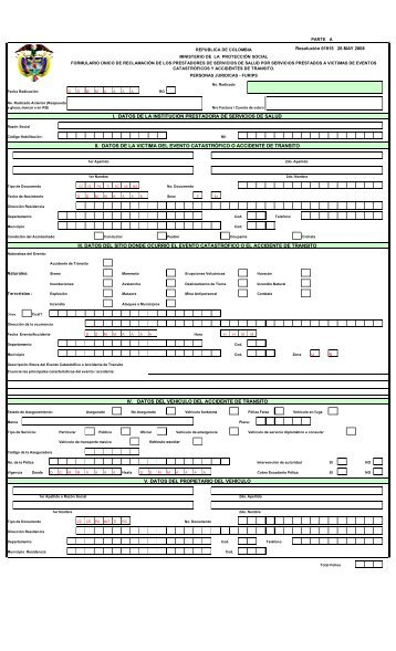 Formulario único de reclamaciones furips - Fasecolda