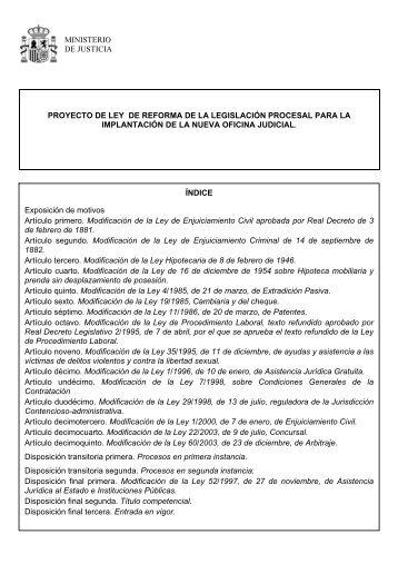 Proyecto Reforma Leyes Procesales - SiSeJ