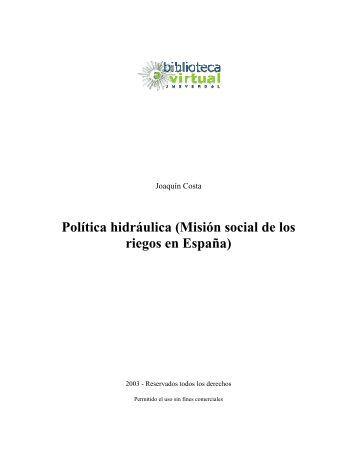 Misión social de los riegos en España - Biblioteca Virtual Universal