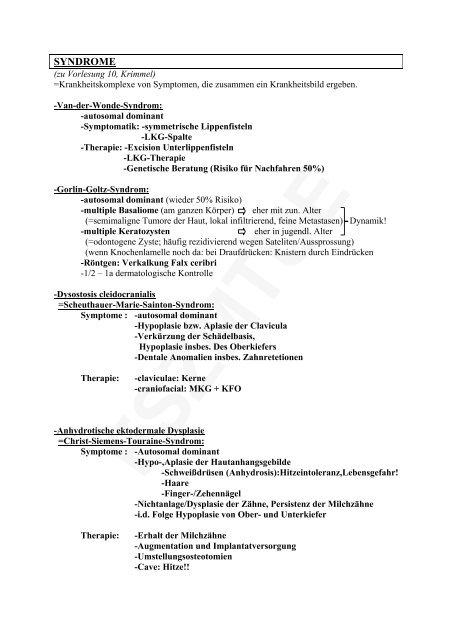 syndrome - ws 02/03 - progenie.de