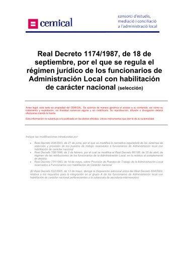 Real Decreto 1174/1987, de 18 de septiembre, por el que ... - cemical