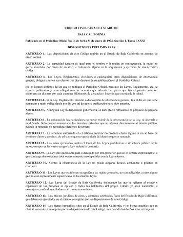 codigo civil para el estado de - Gobierno del Estado de Baja California