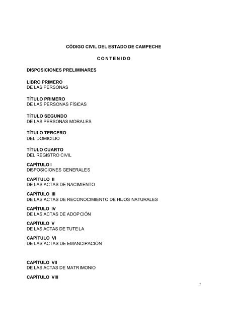 Código Civil del Estado de Campeche - Poder Legislativo del ...