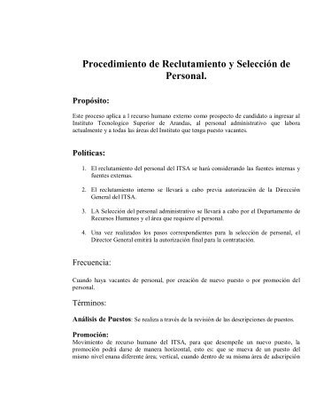 Procedimiento de Reclutamiento y Selección de Personal. - Instituto ...