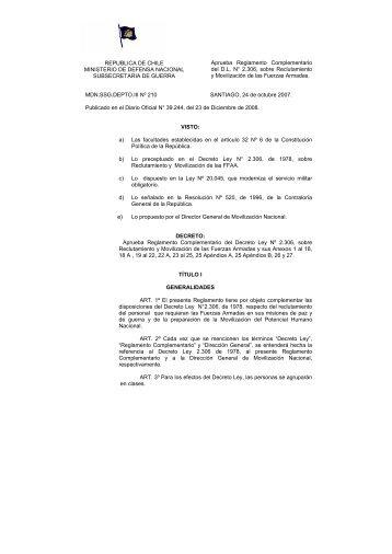Aprueba Reglamento Complementario del D.L. N° 2.306 ... - DGMN