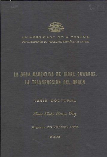 La obra narrativa de Jorge Edwards - RUC - Universidade da Coruña