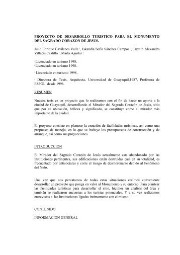 PROYECTO DE DESARROLLO TURISTICO PARA EL ...