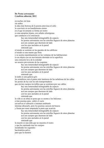 De Poetas astronautas Catafixia editorial, 2012 en noches sin luna ...