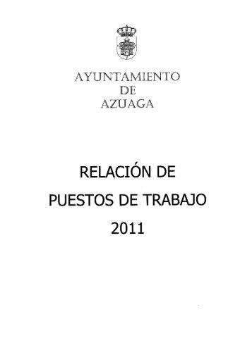 RELACIÓN DE PUESTOS DE TRABAJO - Ayuntamiento de Azuaga