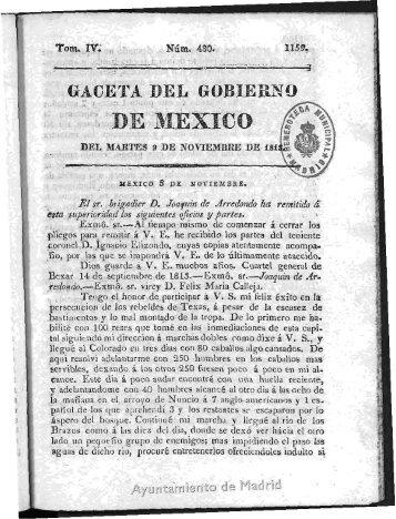 Gaceta del Gobierno de Mexico. 1813 - Memoria de Madrid