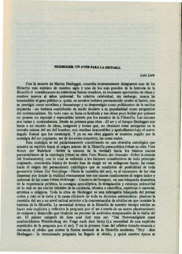 Luis Lara Saborío. Heidegger: un ayer para la