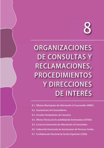 8. Organizaciones de consultas y reclamaciones, procedimientos y ...