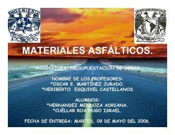 MATERIALES ASFÁLTICOS.