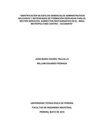 Diagnóstico restaurantes - Universidad Tecnológica de Pereira