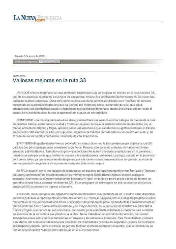 Valiosas mejoras en la ruta 33 - La Nueva Provincia