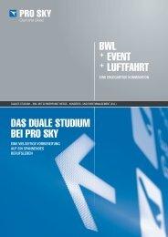 BWL + EVENT + LUFTFAHRT DAs DUALE sTUDiUm ... - Pro-sky.de