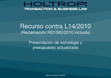 Presentación estrategia y presupuesto recurso ... - Holtropblog.com