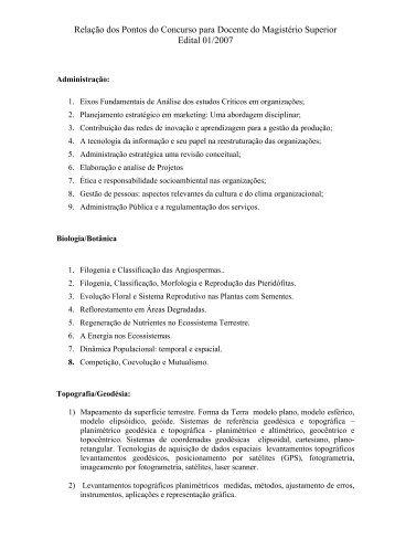 Relação de Pontos Edital nº 01/2007 - Concursos