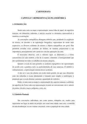 CARTOGRAFIA CAPITULO 7. REPRESENTAÇÃO PLANIMÉTRICA