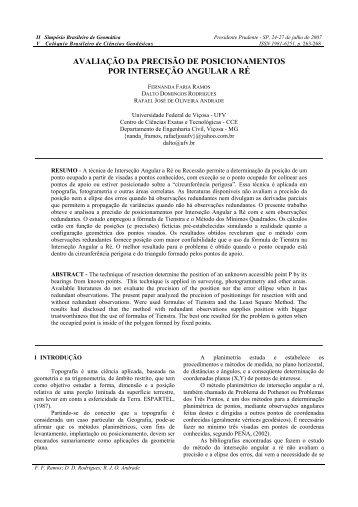 AVALIAÇÃO DA PRECISÃO DE POSICIONAMENTOS POR INTERSEÇÃO ANGULAR A RÉ