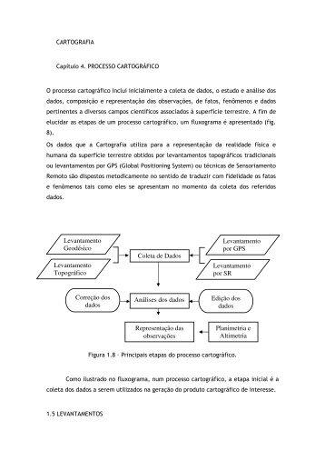 Análises dos dados Representação das observações Levantamento ...