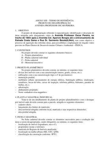 ANEXO XIII - TERMO DE REFERÊNCIA PROJETO DE ... - Procempa