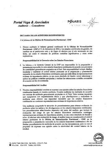 Balance General 2010 - ONP - Portal del Estado Peruano