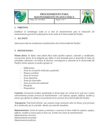 procedimiento para mantenimiento planta física - Universidad del ...